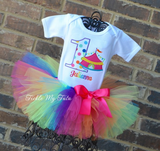 Under the Big Top Rainbow Polka Dot Circus Tent Birthday Tutu Outfit