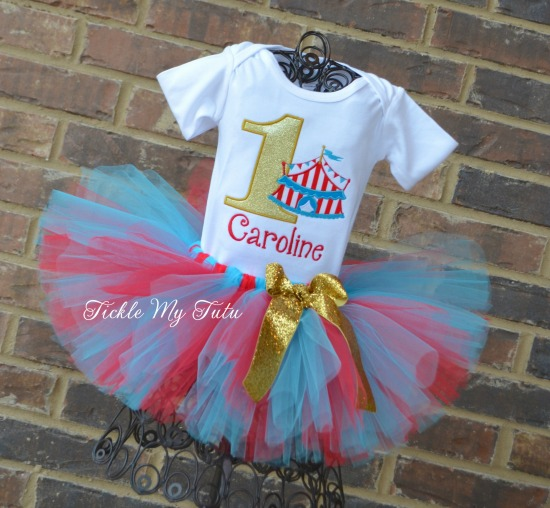 Under the Big Top Circus Tent Birthday Tutu Outfit (red, turquoise, and gold)