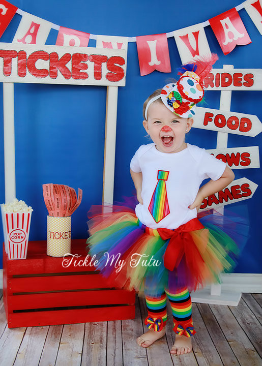Rainbow Circus Clown TWO PIECE Tutu Costume