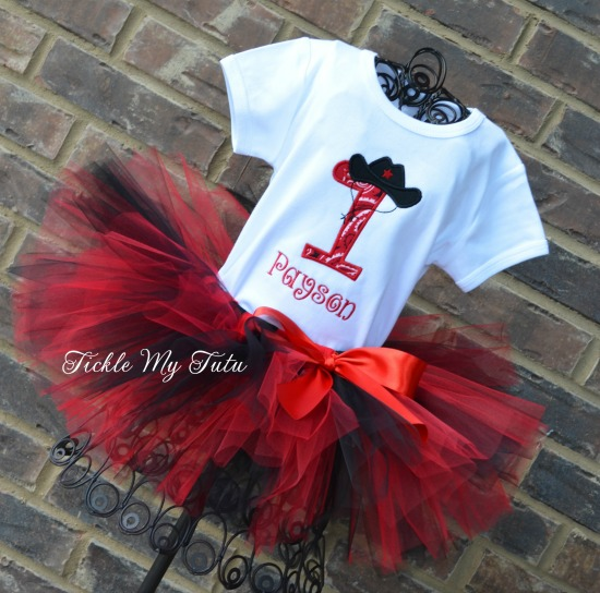 Cowgirl Cutie (Red and Black) Birthday Tutu Outfit