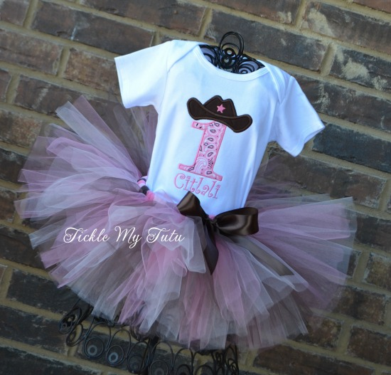 Cowgirl Cutie (Pink and Brown) Birthday Tutu Outfit