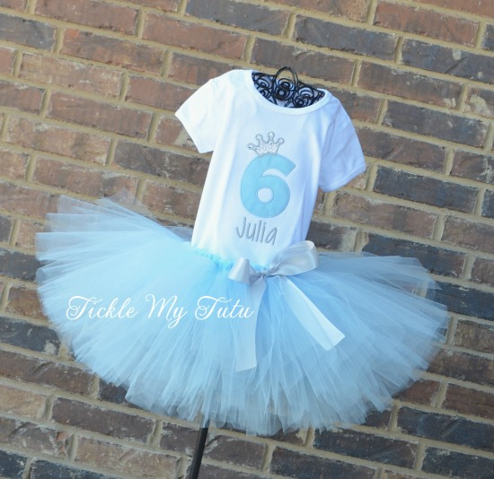 Baby Blue and Silver Birthday Crown Tutu Outfit