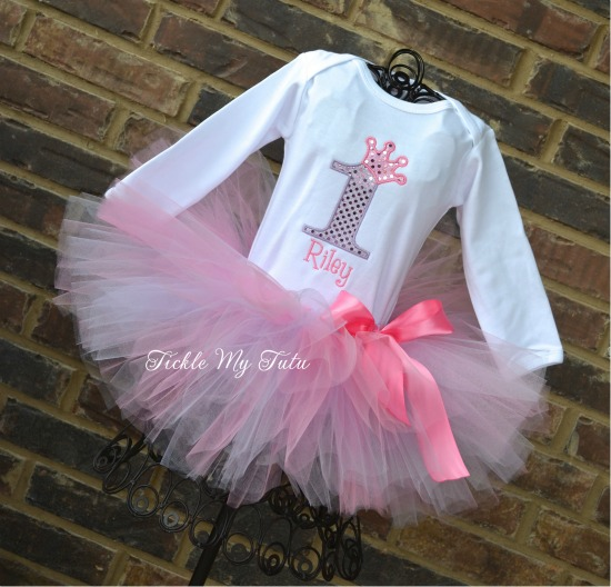 Pink and Lilac Diva Princess Birthday Crown Tutu Outfit