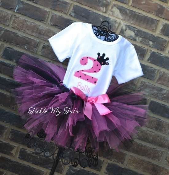"Pink and Black Polka Dot Birthday Crown ""Bella"" Tutu Outfit"