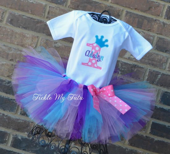 Princess Crown Birthday Outfit (Pink, Purple, and Turquoise)