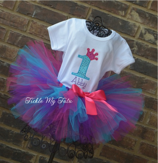 Dark Pink, Purple, and Turquoise Diva Princess Birthday Crown Tutu Outfit