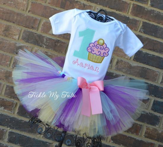 "Cupcake Swirl ""Aarian"" Birthday Tutu Outfit"
