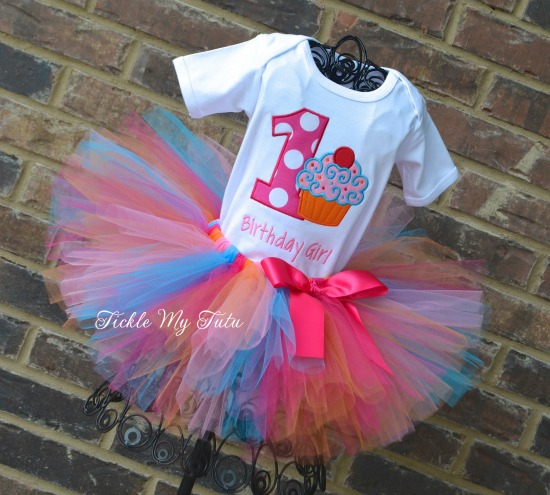 "Cupcake Swirl ""Birthday Girl"" Birthday Tutu Outfit"