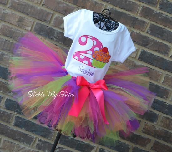"Cupcake Swirl ""Neon"" Birthday Tutu Outfit"