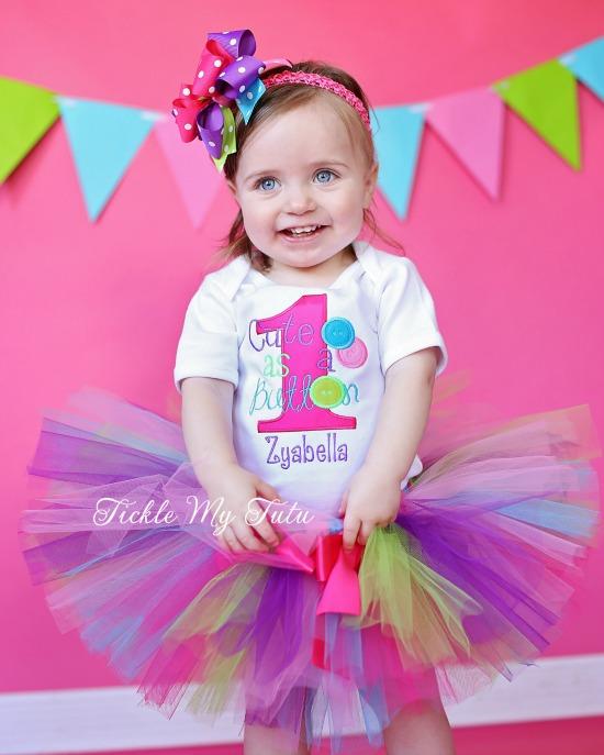 Cute as a Button Birthday Tutu Outfit