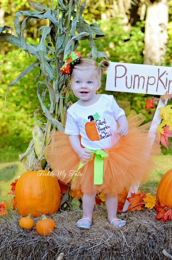 Cutest Pumpkin in the Patch Fall/Halloween/Thanksgiving Tutu Outfit (half pumpkin)