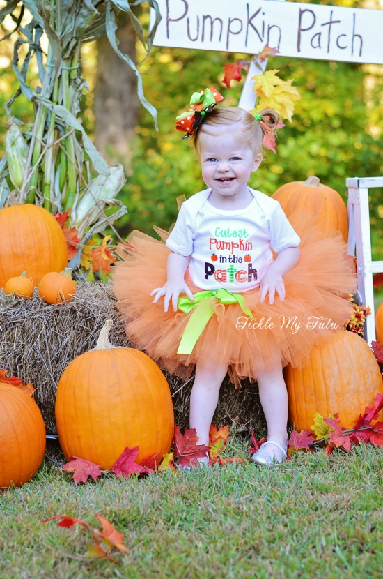 Cutest Pumpkin in the Patch Fall/Halloween/Thanksgiving Tutu Outfit (word design)