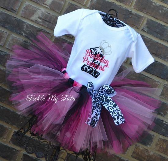 Elegant Princess Damask Birthday Tutu Outfit (Pink)