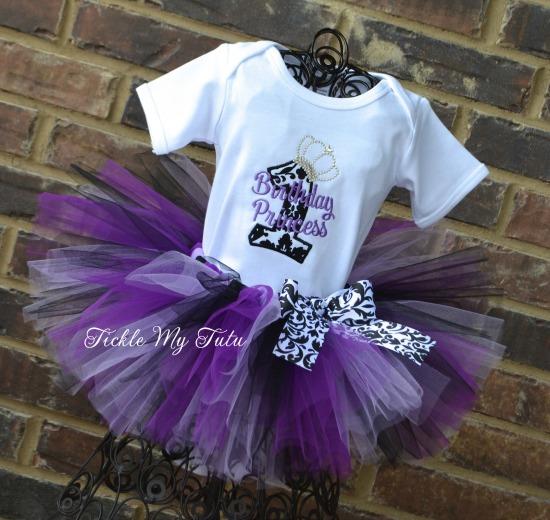 Elegant Princess Damask Birthday Tutu Outfit (Purple)