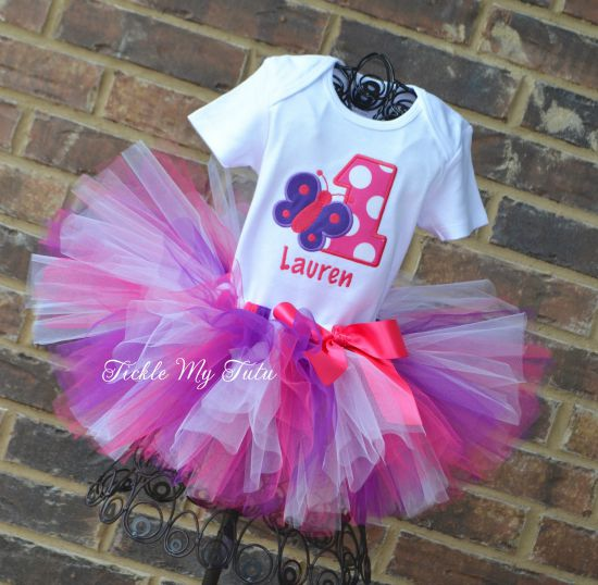 Butterfly Themed (Dark Pink and Purple) Birthday Tutu Outfit