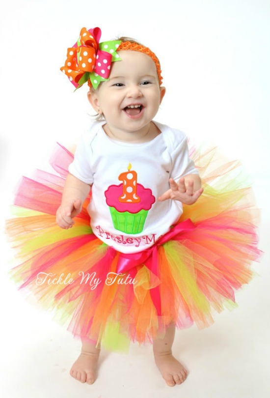 Hot Pink, Lime Green, and Orange Birthday Cupcake Tutu Outfit