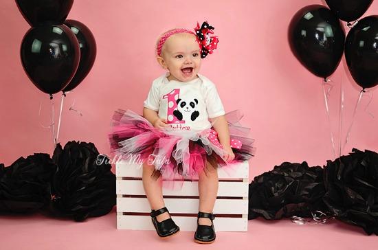 Panda Birthday Tutu Outfit (Dark Pink)