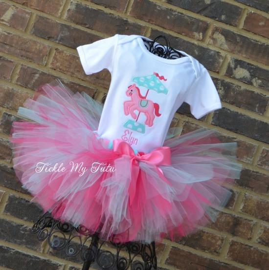 Carousel Pony Dark Pink, Pink and Aqua Birthday Tutu Outfit