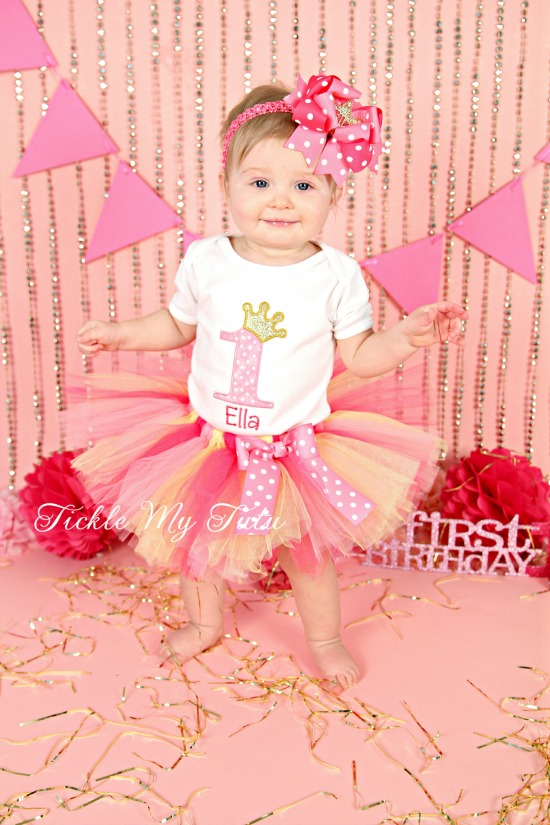 Dark Pink, Pink, and Gold Birthday Princess Tutu Outfit