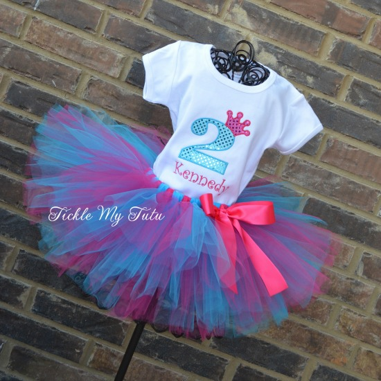 "Dark Pink and Turquoise ""Kennedy"" Diva Princess Birthday Crown Tutu Outfit"