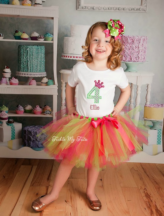 "Hot Pink and Lime Green ""Ellie"" Diva Princess Birthday Crown Tutu Outfit"