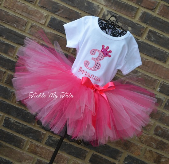 "Dark Pink and Pink ""Brianna"" Diva Princess Birthday Crown Tutu Outfit"