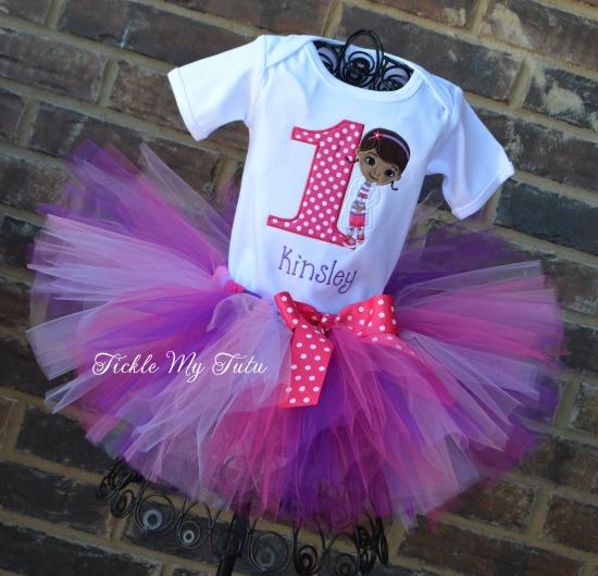 Doc McStuffins Inspired Birthday Tutu Outfit (Dark Pink Polka Dot Number)
