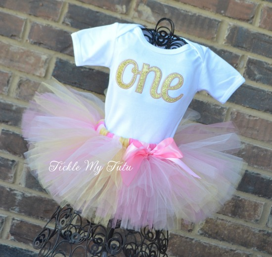 Elegant Light Pink and Gold Glitter Birthday Tutu Outfit