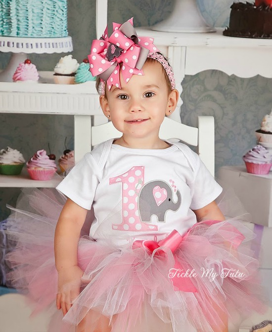 Pink and Grey Elephant Birthday Tutu Outfit