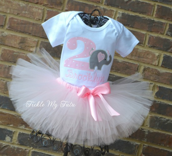 Elephant Birthday Tutu Outfit (Light Pink Tutu)