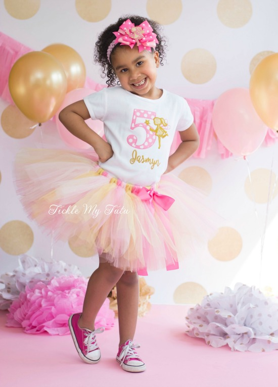 Pink and Gold Fairy Birthday Tutu Outfit
