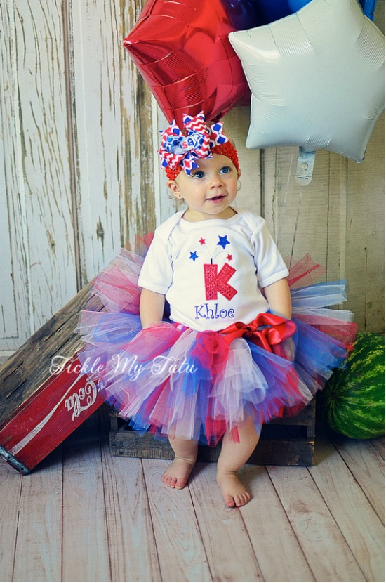 Fourth of July Firecracker Initial Tutu Outfit