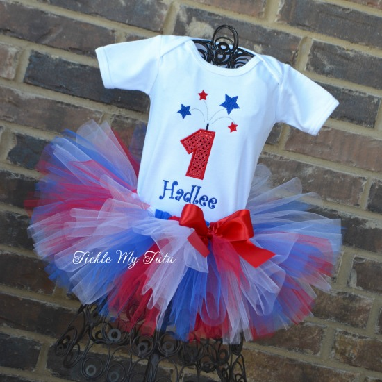 Fourth of July Fireworks Birthday Number Tutu Outfit