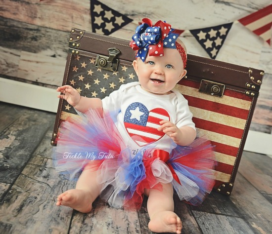 Heart Flag Fourth of July Tutu Outfit