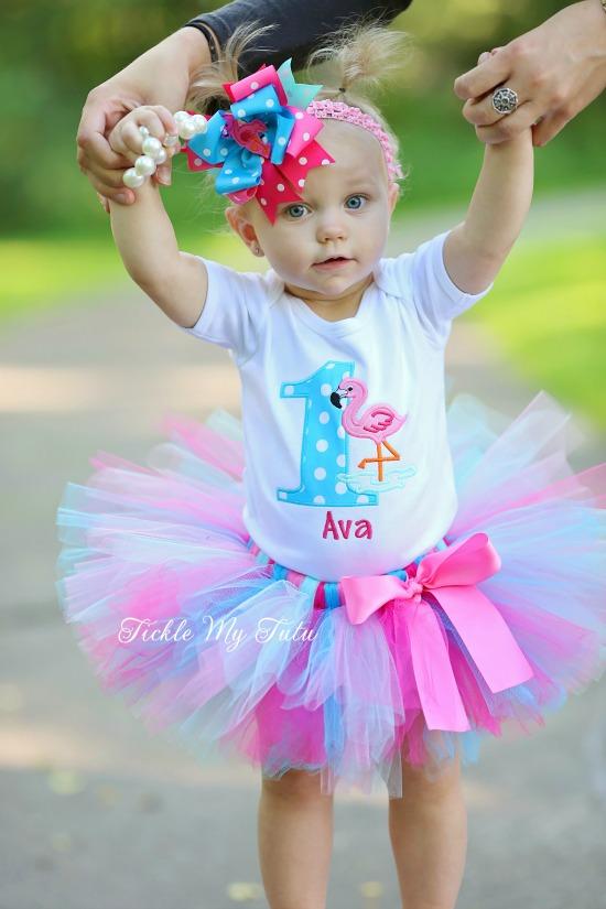 Flamingo Themed Birthday Tutu Outfit