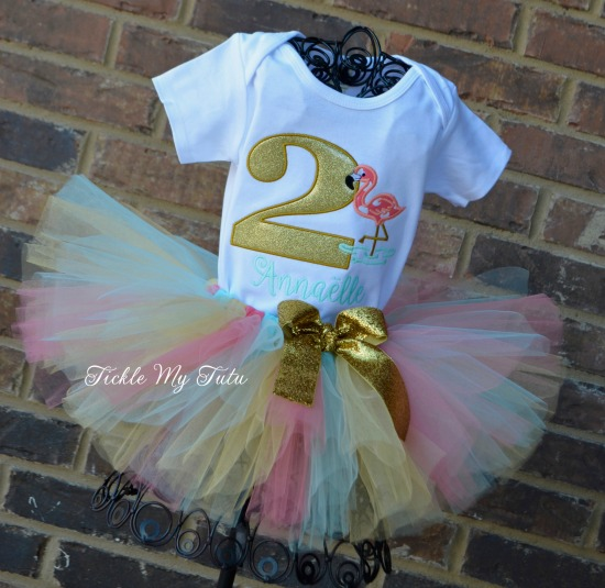 Flamingo Themed Birthday Tutu Outfit (Coral, aqua, and gold)