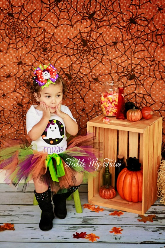 Ghost Circle Patch Halloween Tutu Outfit