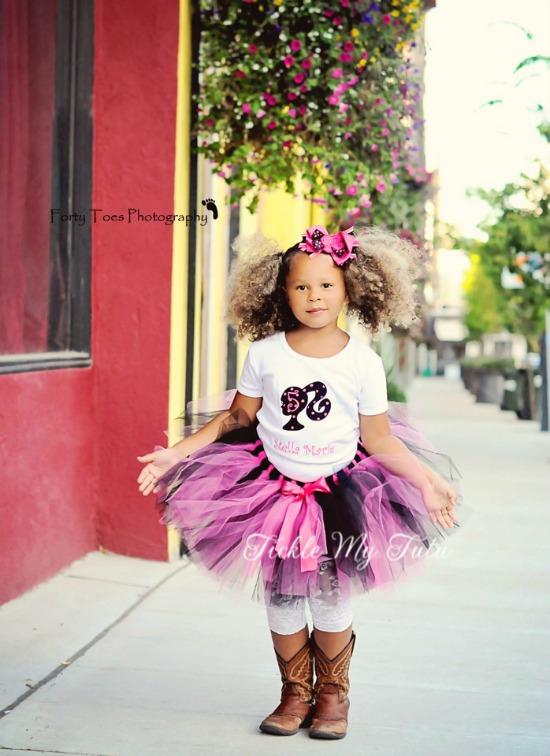 Girly Silhouette Birthday Tutu Outfit