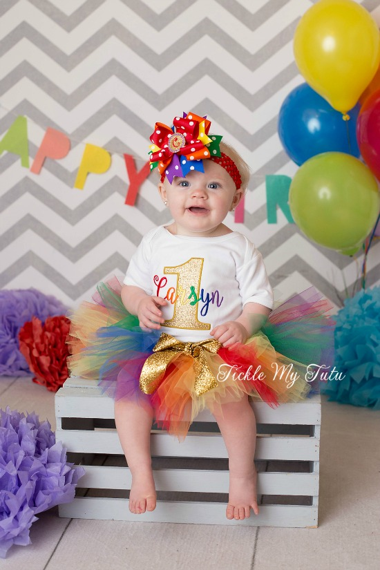 Golden Rainbow Birthday Tutu Outfit