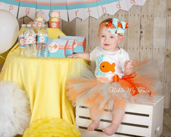 Goldfish Themed Birthday Tutu Outfit (Aqua and Orange)
