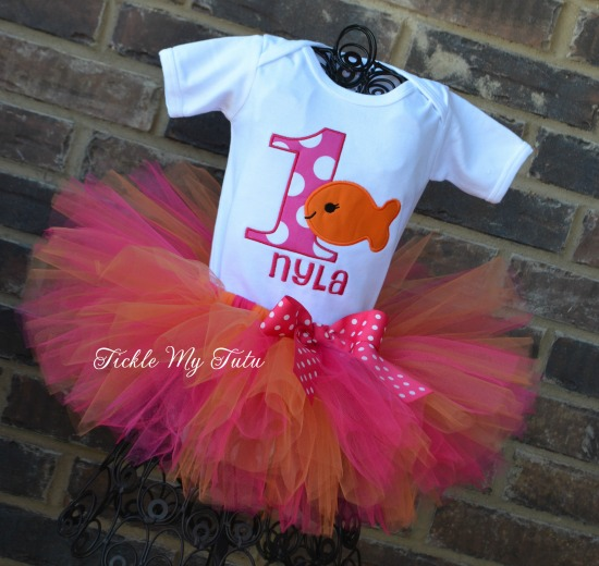 Goldfish Themed Birthday Tutu Outfit (Dark Pink and Orange)