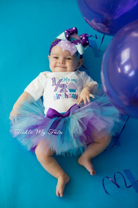 It's My 1/2 Birthday Purple and Aqua Tutu Set