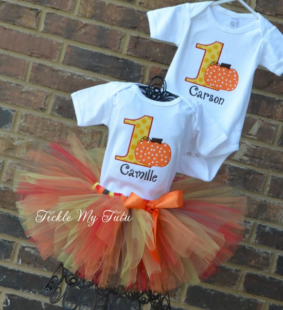 Boy/Girl Twin Harvest Pumpkin Themed Birthday Set