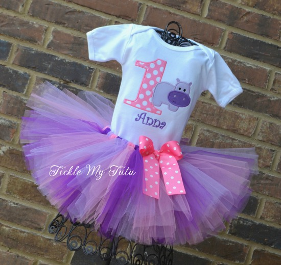 Hip Hippo-ray Birthday Tutu Outfit (purple, lilac, and pink)