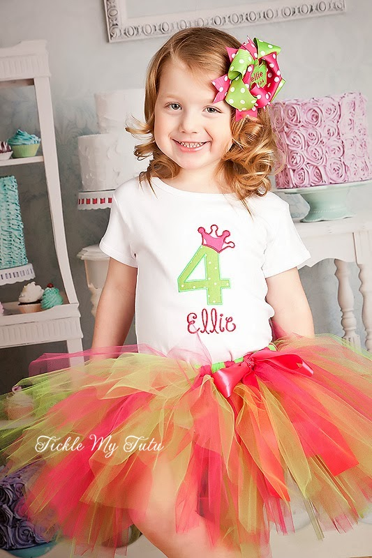 Hot Pink and Lime Polka Dot Birthday Crown Tutu Outfit