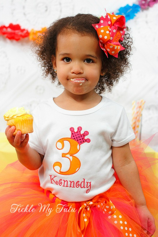 "Hot Pink and Orange Polka Dot ""Kennedy"" Birthday Crown Tutu Outfit"