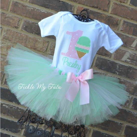 "Ice Cream Party ""Presley"" Birthday Tutu Outfit"