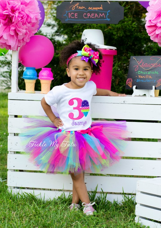 "Ice Cream Party ""Jasmyn"" Birthday Tutu Outfit"