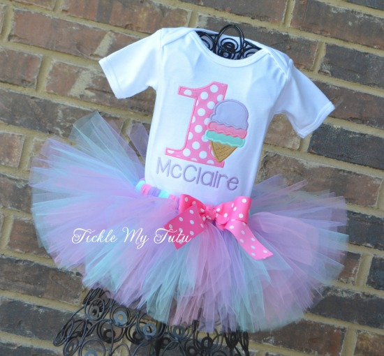 "Ice Cream Party ""McClaire"" Birthday Tutu Outfit"