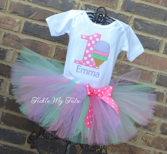 "Ice Cream Party ""Emma"" Birthday Tutu Outfit"